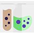 Icône de recyclage de produits avec des fioles de chimie