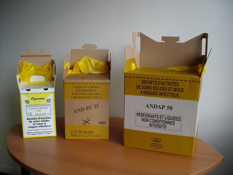 Des cartons pour faire le tri des déchets à risques infectieux